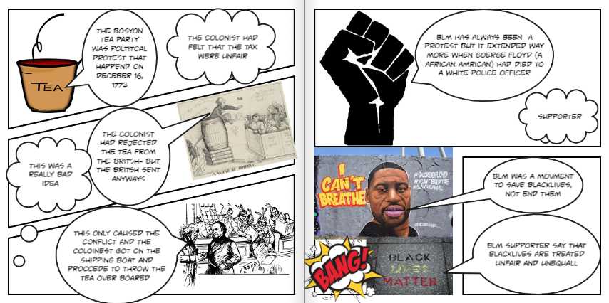 Darrius Terry (8th Grade) showing both perspectives (colonist and British) of Boston Tea Party and both perspectives (support vs. don't support) of Black Lives Matter movement